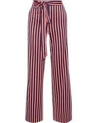 Iris & Ink Straight Leg Trousers Crimson
