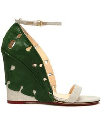 Charlotte Olympia - Cutout Snake-effect Leather And Canvas Wedge Sandals - Lyst