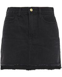 FRAME Le Mini Frayed Denim Mini Skirt Black
