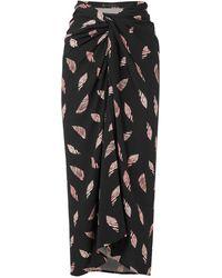 ViX Seychelles Lee Printed Voile Wrap Skirt - Black