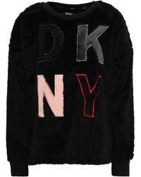 DKNY Appliquéd Fleece Pyjama Top Black