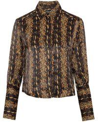 ALEXACHUNG Snake-print Satin Shirt - Multicolour