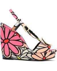 Roger Vivier Buckle-embellished Floral-print Canvas Wedge Sandals Pink