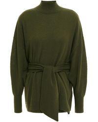 Zimmermann Belted Wool-blend Turtleneck Jumper Army Green