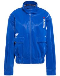 Love Moschino Embroidered Coated Cotton Bomber Jacket - Blue