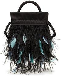 RIXO London Mabel Feather-embellished Satin Shoulder Bag - Black