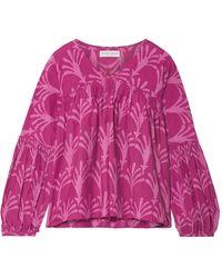 Apiece Apart Printed Cotton And Silk-blend Blouse - Multicolour