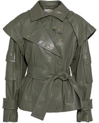 Zimmermann Tempest Belted Layered Leather Jacket Army Green
