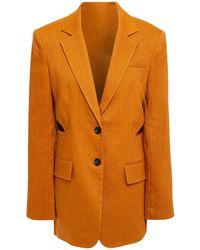 Tibi Cutout Linen-blend Twill Blazer - Multicolour