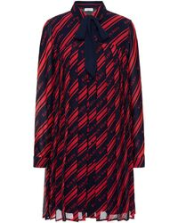 Claudie Pierlot Pleated Printed Georgette Mini Shirt Dress - Red