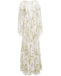 Giambattista Valli Lace-trimmed Gathered Floral-print Silk-chiffon Gown White