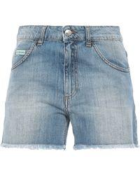 ALEXACHUNG Frayed Denim Shorts Mid Denim - Blue