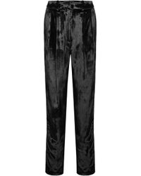 Adam Lippes - Pleated Velour Tapered Trousers - Lyst