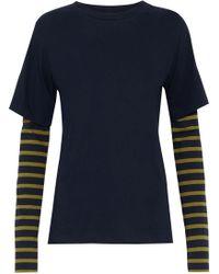 Goen.J - Woman Layered Cotton-jersey Top Navy - Lyst