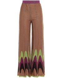M Missoni Pleated Metallic Crochet-knit Wide-leg Trousers - Brown