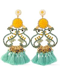 Elizabeth Cole - Tasseled Gold-tone, Crystal And Stone Earrrings - Lyst