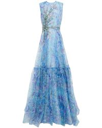 Costarellos Embellished Gathered Floral-print Organza Gown - Blue