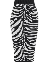 Hervé Léger Zebra-intarsia Knitted Midi Skirt - Black