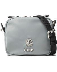 Versus Leather-trimmed Shell Shoulder Bag Light Grey - Gray