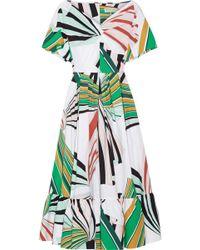 Emilio Pucci - Pleated Printed Stretch-cotton Poplin Midi Dress - Lyst