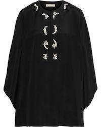 Emilio Pucci Crystal-embellished Silk Crepe De Chine Cape Black