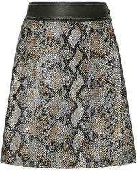 Stand Studio Elene Snake-effect Leather Mini Wrap Skirt Animal Print - Black