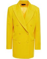 Dundas Double-breasted Grain De Poudre Wool-blend Blazer - Yellow