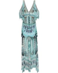 Camilla Asymmetric Cold-shoulder Printed Fil Coupé Silk Peplum Top Turquoise - Blue