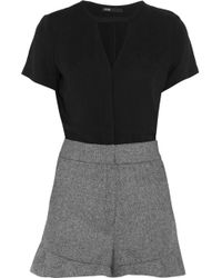 42dfaeaa418 Maje - Woven And Twill Playsuit - Lyst