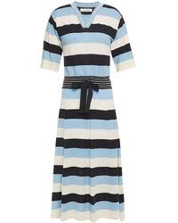 Chinti & Parker Striped Linen And Cotton-blend Midi Dress - Blue
