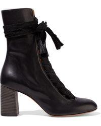 Chloé Chloé Harper Leather Ankle Boots Black