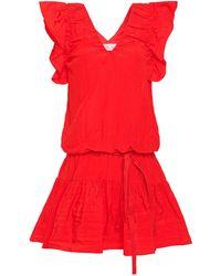 Victoria, Victoria Beckham Belted Ruffled Taffeta Mini Dress Tomato Red
