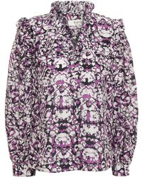 Sea Printed Cotton And Silk-blend Mousseline Top - Purple