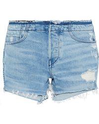 3x1 - Stripped Shelter Distressed Denim Shorts - Lyst