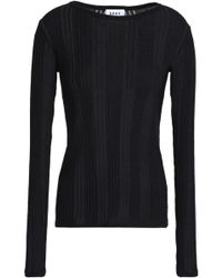 DKNY - Woman Ribbed Cotton Top Black Size M - Lyst