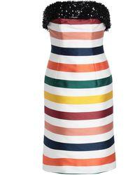 Carolina Herrera Sequin-trimmed Striped Cotton And Silk-blend Satin Dress - Multicolour