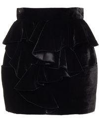 Balmain Minirock aus samt mit rüschen - Schwarz