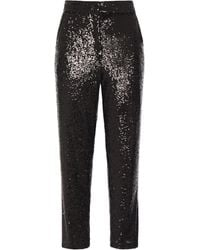 A.L.C. - Cropped Sequined Tulle Straight-leg Pants Black - Lyst