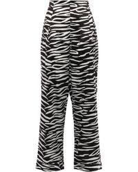 Ganni Blakely Zebra-print Stretch-silk Wide-leg Pants Animal Print - Black