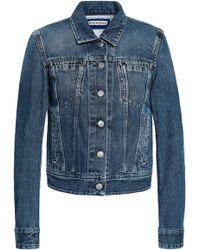 Acne Studios Cliff Faded Denim Jacket Mid Denim - Blue