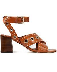 Maje Eyelet-embellished Studded Leather Sandals - Brown