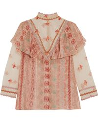 Anna Sui - Metallic-trimmed Printed Fil Coupé Chiffon And Embroidered Tulle Blouse - Lyst