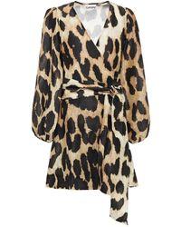 Ganni Leopard-print Linen And Silk-blend Voile Mini Wrap Dress Animal Print - Multicolour