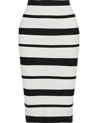 Hervé Léger Hervé Léger Striped Bandage Pencil Skirt Ivory - White