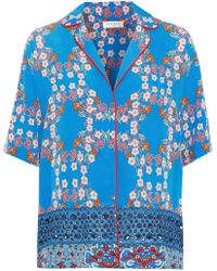 Sandro Ruffine Broderie Anglaise-paneled Floral-print Crepe De Chine Shirt Bright Blue