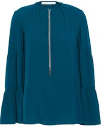 MICHAEL Michael Kors Chain-detailed Stretch-crepe Blouse Teal - Blue