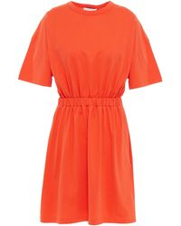 NINETY PERCENT Minikleid Aus Baumwoll-jersey Mit Raffung Und Cut-outs - Orange