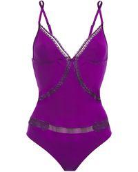 La Perla Lace-trimmed Stretch-tulle And Jersey Bodysuit Violet - Purple