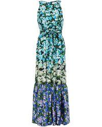Mary Katrantzou Portofino Gathered Floral-print Silk-twill Maxi Dress - Blue
