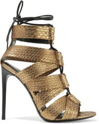 Tom Ford - Lace-up Metallic Python Sandals - Lyst